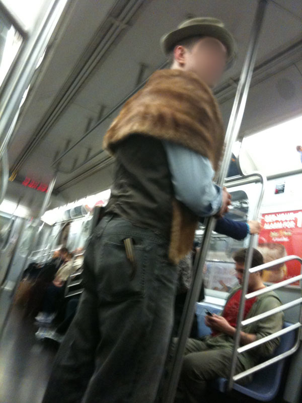 a mink stole on the subway